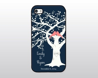 Wedding iPhone Case - Bride iPhone Case - Anniversary Gift - Personalized Wedding Gift - Navy and Coral Pink