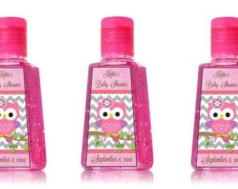custom owl baby girl hand sanitizer labels perfect for shower favors. Black Bedroom Furniture Sets. Home Design Ideas