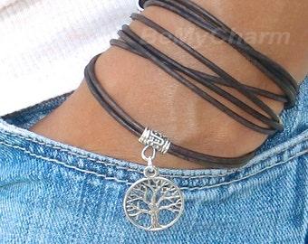 Boho LEATHER Wrap Bracelet w/ Tree of Life -Tibetan Style Triple Wrap Bracelet w/ Extension Dangle - Pick SIZE/COLOR - Gift For Her, 756