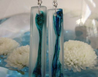 At Sea: Blue green hand painted dangle resin earrings