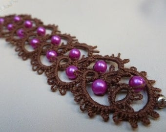 Pink, brown - tatting bracelet - Gift for her
