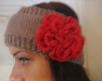 Handmade Knitted Headband with crochet flower Wrap Red Flower Hat Girly Romantic,valentines day gift
