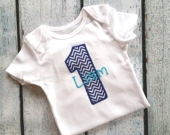 Personalized Baby boy first birthday outfit - navy blue chevron , first birthday outfit -  1st Birthday  Boy