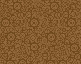 "SUPER CLEARANCE!  19"" REMNANT On The Go - Gears in Brown - Cotton Quilt Fabric - Bo Bunny for Riley Blake (W568)"