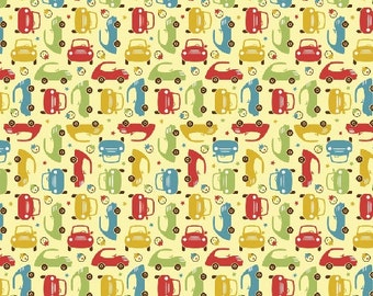SALE!! Fat Quarter Cruiser Blvd -Mini Cars in Yellow - Cotton Quilt Fabric - Sheri McCulley Studio for Riley Blake Designs (W792)