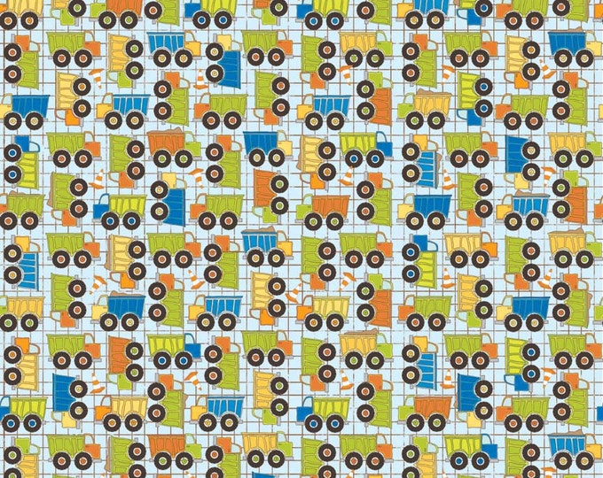 SUPER CLEARANCE! One Yard On The Go - Trucks in Blue - Cotton Quilt Fabric - Bo Bunny for Riley Blake  (W563)