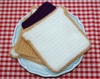 Crochet Pattern for a Peanut Butter & Jam / Jelly Sandwich - PBJ Sandwich - Play Food