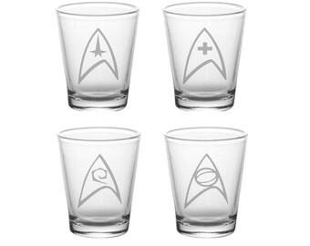 Star Trek Insignias Shot Glass Set - Star Trek Shot Glasses - Etched Star Trek Badge Shot Glass Set - GeekyGoodz