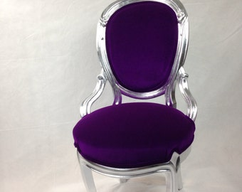 SOLD-Silver Leaf and Orchid Velvet Vintage French Chair Guiltwood