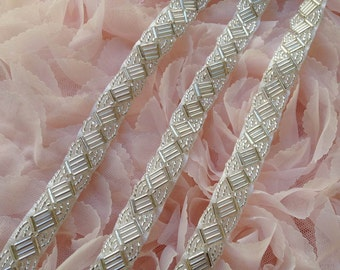 Silver Beaded Trim on White Ribbon For Bridal, Headbands, Jewelry, Costumes, Crafts