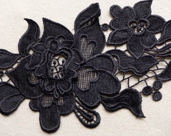 Black Venise Rose Trim, Bridal Wedding Lace Trim, Gorgeous Rose Lace Trim, Black Lace Applique