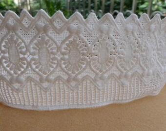 "Retro White Cotton Lace Trim 3.34"" for Bridal, Quilt, Sewing, Crafting Lace, Costume design"
