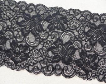 "Black Stretch Lace 6.22"" wide for Lingerie, Bustier, Headbands, Black Gloves, 2 Yards"