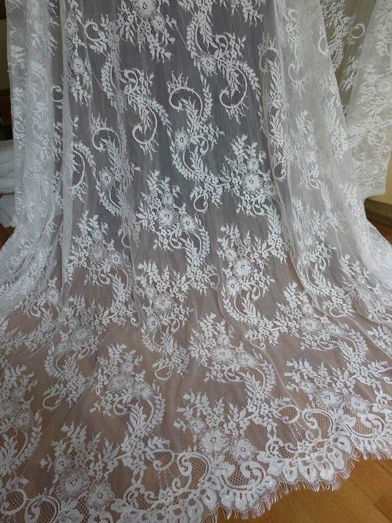 Chantilly fabric unique white wedding dress lace fabric for Wedding dress lace fabric