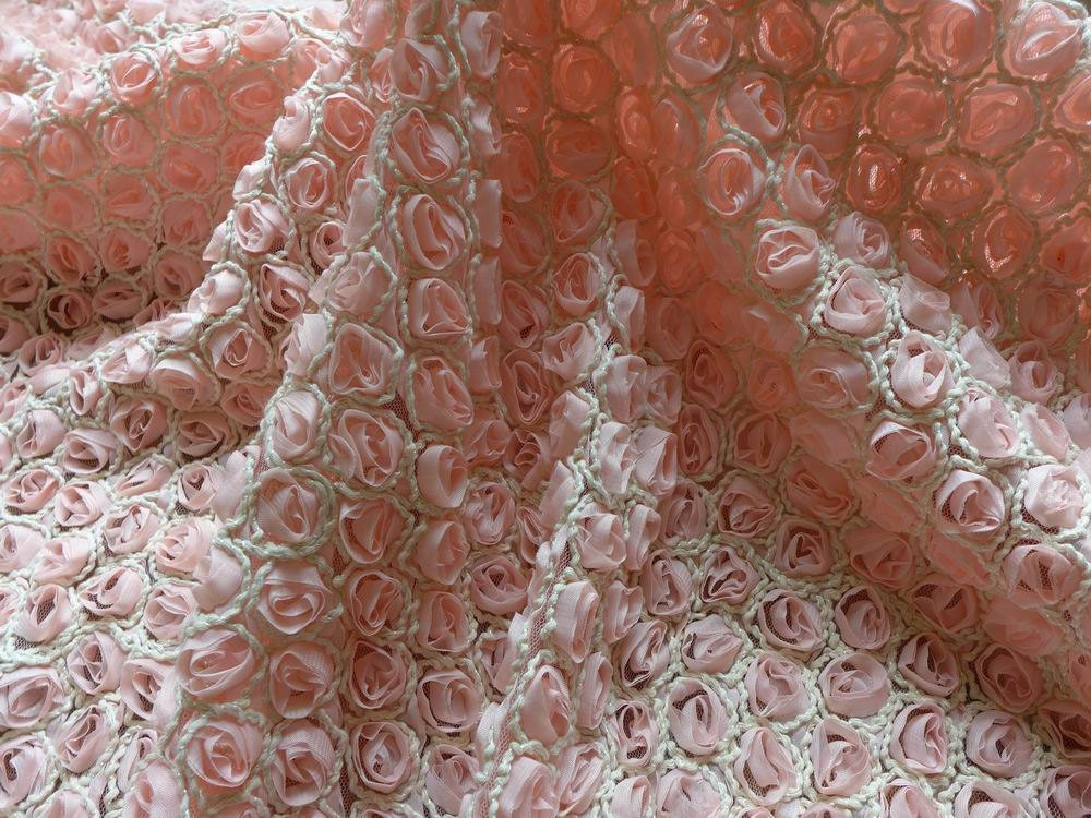 3d chiffon flower rosette fabric pink chiffon rose lace for Fabric material for sale