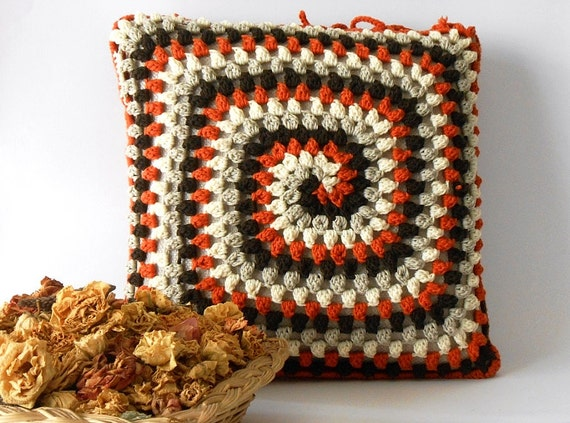 crochet pillow cover, merino wool crocheted cushion, pillow case made ...