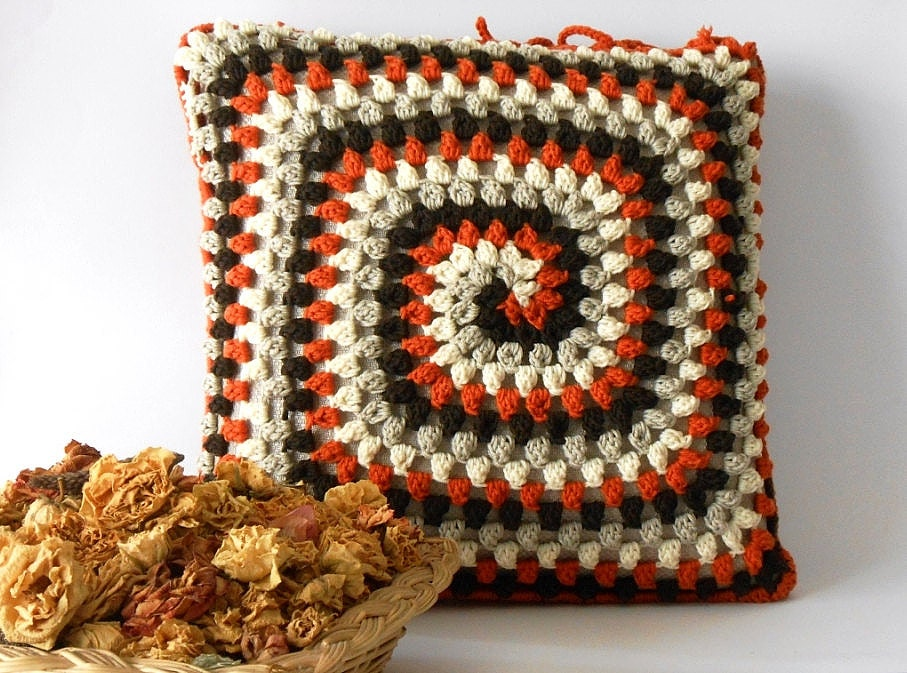 Crochet Pillow Cover Merino Wool Crocheted Cushion Pillow