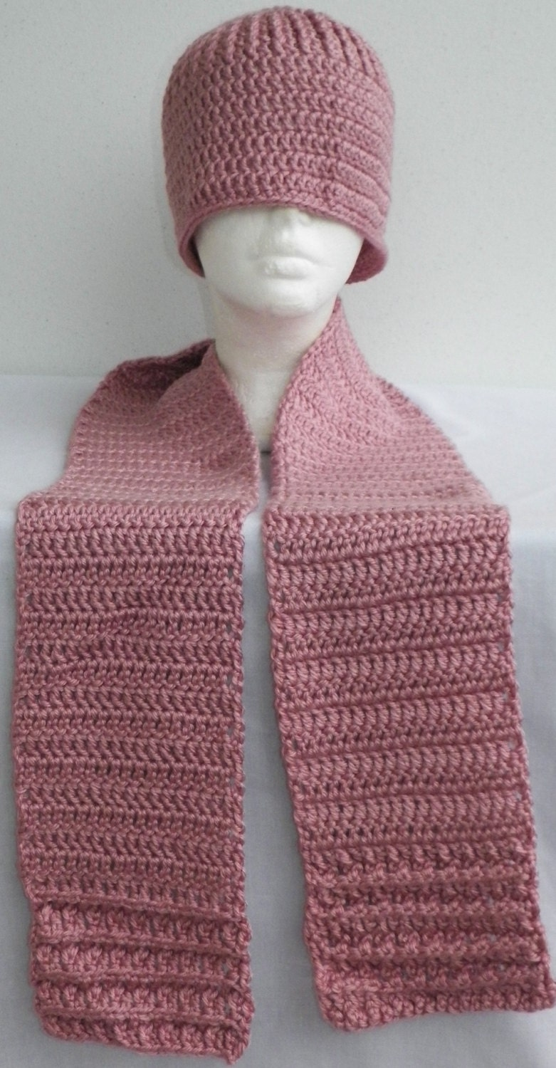 Knitting Pattern Hat Scarf Combo : Pink Passionfruit Crochet Hat Scarf Combo Teens Adult