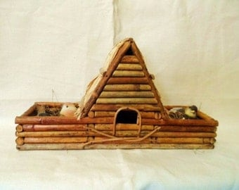 Bamboo BIRD HOUSE with Thatched Roof- Birds- Novelty Bird House with Birds-Vintage Unique Home Decor