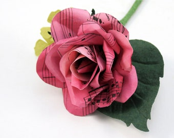 Pink Music Sheet Rose - Grooms Buttonhole - Boutonniere