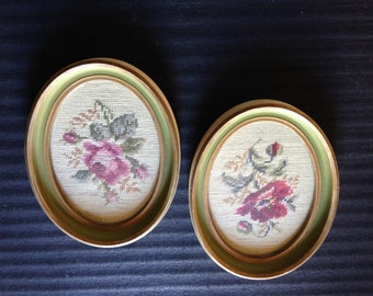 Needlework Floral Pictures 1940s  Really Pretty and Very Nice Condition