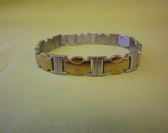 Vintage 80's Stainless Steel and Gold Plated Bracelet