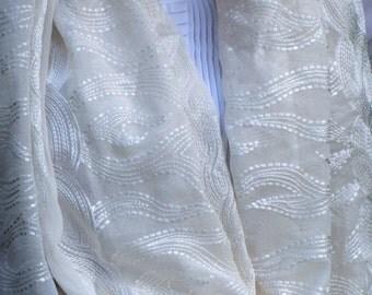 White handwoven chiffon