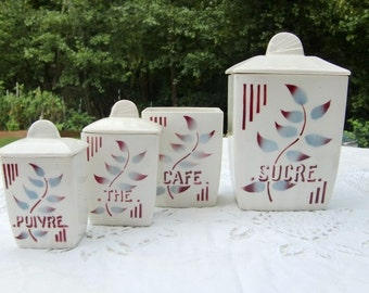 French vintage canisters set of 4 ,  floral decor, ceramic storage pot, storage jar, kitchen canisters