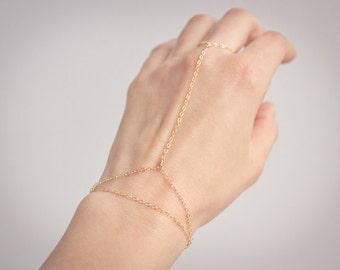 Silver / Gold or Rose gold Hand Chain Slave Bracelet