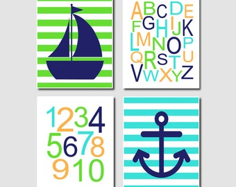 Baby Boy Nautical Nursery Art Navy Turquoise Lime Green Alphabet Numbers ABC 123 Set of 4 Prints Sailboat Anchor Wall Art Decor Picture