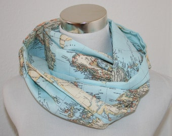 About scarf, world map, world traveller, world traveller, loop, scarf, Atlas, maritime, on the road, cruise, CMS, sewing guru, blue, continent, United States