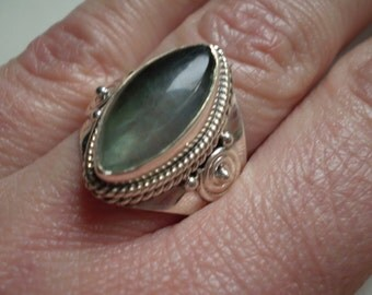 Blue Quartz (Natural) 925 Sterling Silver Ring Size 8.50