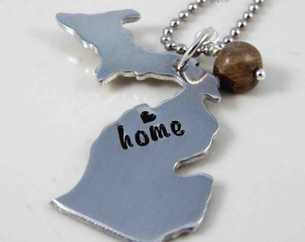 State of Michigan Necklace,  Michigan Home Necklace, Michigan Necklace, Michigan Jewelry, Petoskey Stone, Love Michigan, Michigan Pendant