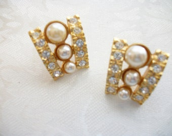 Vintage Clear Rhinestone Faux Pearl Post Pierced Goldtone Earrings Women Wedding Anniversary Valentine Christmas Mom Sister Daughter Retro