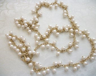Vintage Dangle White Faux Pearls Goldtone Rope Chain Necklace Gift Teen Tween Collectible Retro Designer Gift