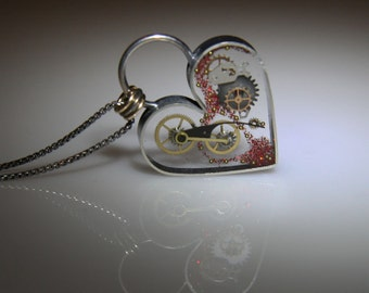 Clockwork Steampunk Heart, Clockwork Heart Necklace, Steampunk Valentine by Jackie Taylor Designs