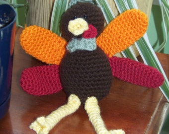 Crochet stuffed turkey, brown, red, orange and green