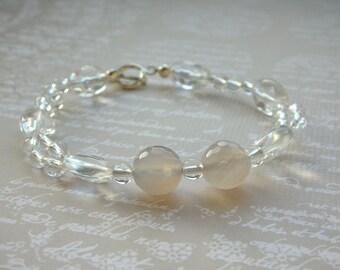 Gemstone Bracelet - Quartz and Grey Agate Sterling Silver Bracelet