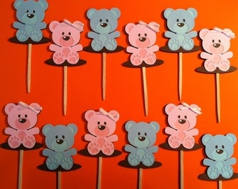TEDDY BEAR CUPCAKE Toppers - Baby Shower Cupcake Toppers - Birthday Party Cupcake Toppers Set of 12