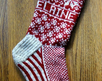 Poinsettia Stocking - hand knit, custom name available, made to order