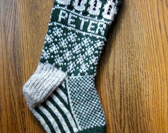 Snowmen Stocking - hand knit, custom name available, made to order / snowman