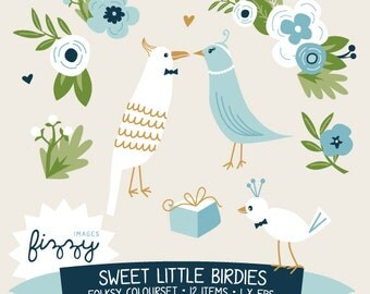 EPS: 12 x Sweet Birds and Flower Clipart in Folksy colour set - Digital with Instant Download. CA0001