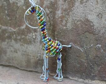 Keyring Beaded , Keychain beaded , Animal key chain , African beaded wire keychain , Key holder , African curio , Purse charm- GIRAFFE.