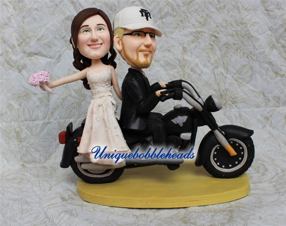 personalised wedding cake figurines items similar to custom wedding cake toppers motorcycle 18233