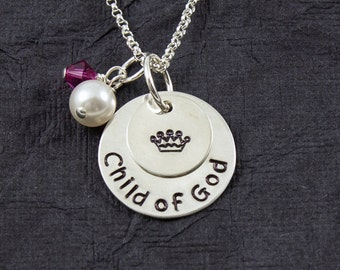 Child of God necklace, princess necklace, Baptism necklace, religious gift, LDS jewelry