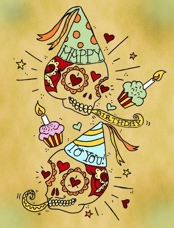 Zucker Schädel alles Gute zum Geburtstag Karte Tag des Toten