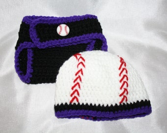 Newborn black and purple crochet baseball hat with matching diaper cover