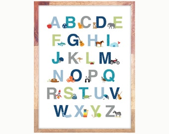 Alphabet Print Poster 11 x 14 or 12 x 16 Green Blue Gray