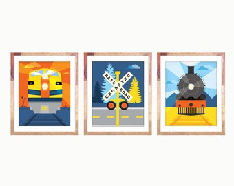 "Three Train Prints 8x10"" Diesel, Steam Engine, Crossing"