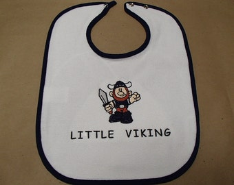 Scandinavian Embroidered Baby Bib -  Little Viking or Take a Liking to a Viking or Viking God